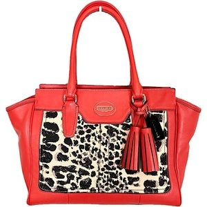 COACH Legacy Ocelot Candace Poppy Leather Satchel